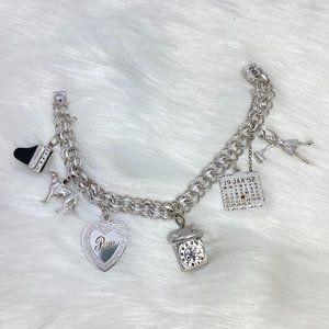 ELCO Sterling Silver Chain Link Charm Bracelet